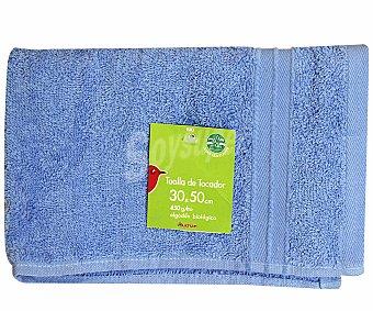 AUCHAN Toalla de algodón lisa para tocador, color azul, 30x50 centímetros 1 Unidad