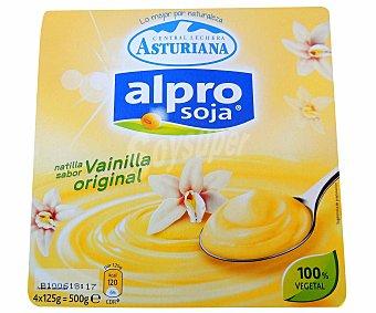 Central Lechera Asturiana Alpro natillas sabor vainilla original 100% vegetal soja pack 4 unidades 125 g Pack 4 unidades 125 g