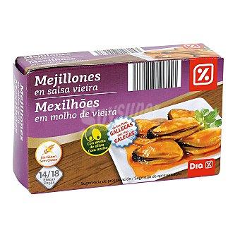 DIA Mejillones en salsa vieira 14/18 piezas lata 68 grs Lata 68 grs