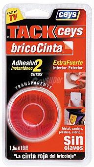 Ceys Cinta de Montaje Bricocinta, fijación extrafuerte, para interior y exterior, fácil de usar color rojo 1.5 Metros x 19 Milímetros