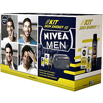 Nivea For Men Pack Skin Energy con crema hidratante Q-10 + roll-on ojos + desodorante Stress Protect spray 150 ml + neceser de regalo Spray 150 ml