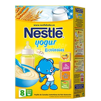 Nestlé Papilla de 8 cereales con yogur desde 8 meses Caja 600 g