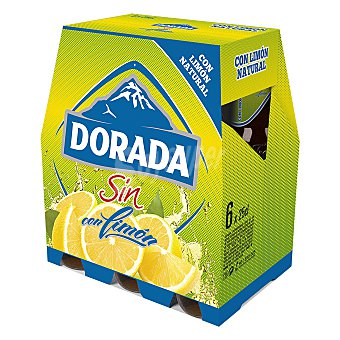 Dorada Cerveza sin alcohol con limón Pack 6x25 cl