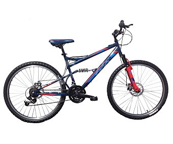 TEAM Bicicleta de montaña de 26 pulgadas con doble suspensión, frenos de disco, 6 velocidades 1 Unidad