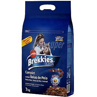 Brekkies Affinity Comida gatos para el control de bolas de pelo con carne y pescado Excel Complet Bolsa 3 kg