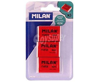 Milan Lote de 3 gomas de borrar rectangulares y de color blanco milán Nata Nº624 nata Nº 624