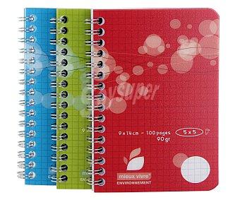 Auchan Lote de 3 libretas de 9x14 centímetros, con cuadrícula de 5x5 milímeros, 100 hojas de 90 gramos, tapas de plastico y encuadernación con espiral metálica 1 unidad