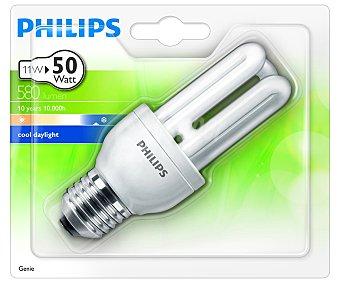 PHILIPS Genie Bombilla bajo consumo tubo 11W, casquillo E27 (grueso) y luz fría 1 unidad