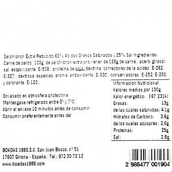 Boadas Salchichón extra reducido en sal loncheado 100 G 100 g