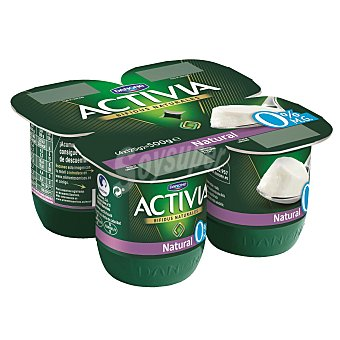 Activia Danone Yogur natural desnatado 0% materia grasa Pack 4 uds x 125 g