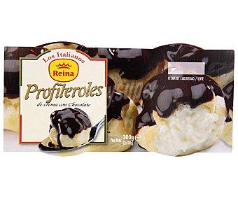 Reina Postre de profiteroles de crema con chocolate Pack 2 unidades 100 gramos
