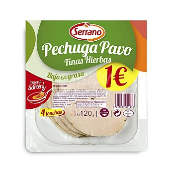 Serrano Pechuga de pavo finas hierbas Bandeja 120 gr