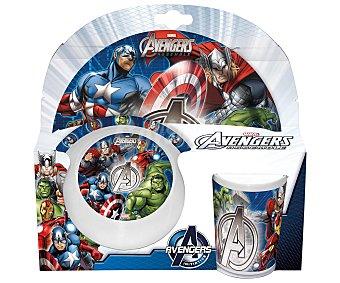 Marvel Set de merienda fabricado en melamina con diseño de Los Vengadores, incluye 1 plato, 1 cuenco y 1 vaso 1 unidad
