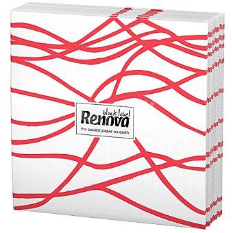 Renova Servilletas Black Label serpentina roja paquete 12 unidades Paquete 12 unidades