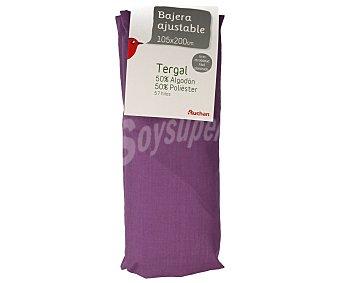Auchan Sábana bajera ajustable color morado para cama de 105 centímetros, largo especial de 200 a 210 centímetros 1 unidad