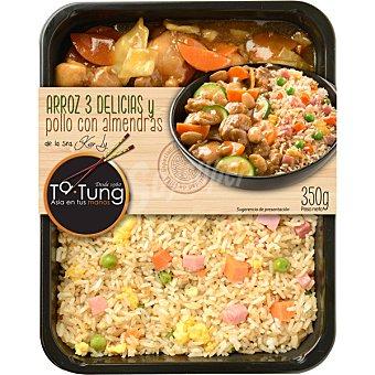 Ta Tung Menú arroz tres delicias y pollo con almendras  envase 350 g