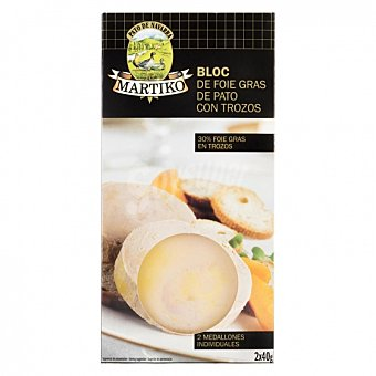 Martiko Bloc de foie gras de pato con trozos Pack de 2 unidades de 40 g