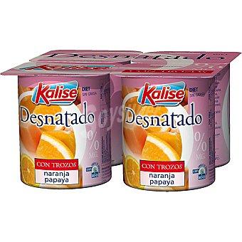Kalise Yogur desnatado con trozos de papaya y naranja Pack 4 unidades 125 g