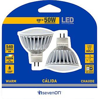 SEVENON Lámpara LED blanco blanco cálido Gu5.3  (50W)  estuche 2 unidades