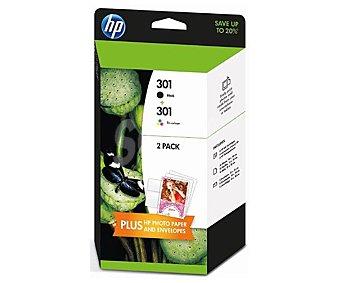 HP Cartuchos de Tinta 301 Negro y Color, incluye: 10 hojas y 5 sobres 13x18, Compatible con: deskjet 1000 / 1050 / 2000 / 2050 / 3000 / 3050 / J110 / series / J210 series / J310 series / J410 series / J610 series / J611 series