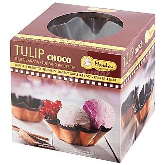 MASDEU Tulipa mediana bañada en cacao para rellenar paquete 180 g 6 unidades