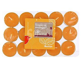 Auchan Velas calientaplatos o tealights perfumadas con olor a mango tropical Pack de 30 Unidades