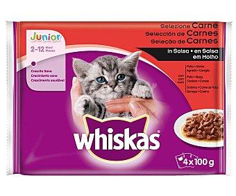 Whiskas Comida para gatos junior de 2 - 12 meses a base de pollo en salsa 4 uds. 100 g