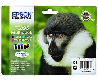 Epson Pack de 4 cartuchos de tinta negro, cian, magenta y amarillo T0895 Multipack