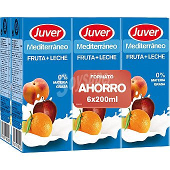 Juver Zumo de fruta con leche 0% Materia Grasa Mediterraneo  6 envases de 200 ml