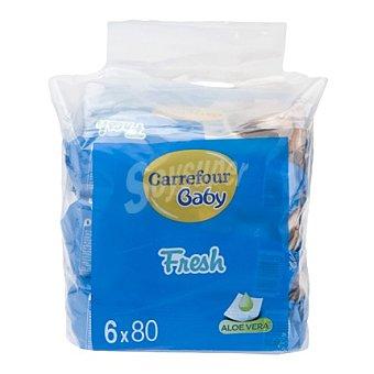 Carrefour Baby Toallitas con aloe vera Pack de 6x80 ud