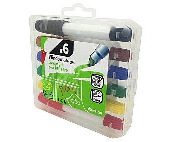Auchan Caja con 6 rotuladores con tinta en gel de diferentes colores, especial para pintar en cristales auchan
