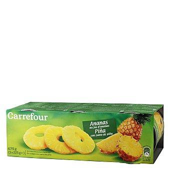 Carrefour Piña con zumo de piña en rodajas Pack de 3 unidades de 139 g