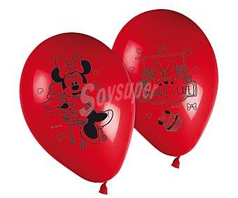 Disney Globos de látex color rojo con diseño de Minnie Mouse Pack de 8 unidades