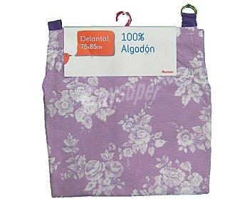 Auchan Delantal de algodón, estampado floral color violeta, 75x85 centímetros 1 Unidad