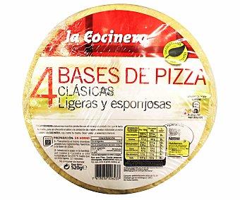 La Cocinera Base de pizza Pack de 4x130 g - 520 g