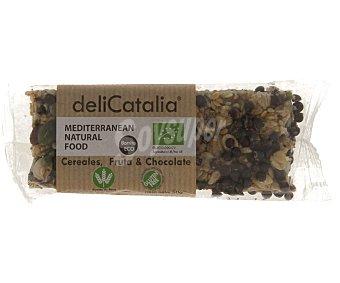DELICATALIA Barrita de cereales, fruta y chocolate 50 gramos