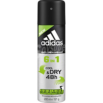 Adidas Desodorante 6 en 1 Cool & Dry man 48h anti-transpirante sin alcohol spray 200 ml Spray 200 ml
