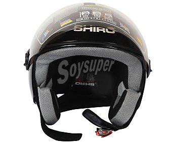 Shiro Casco de moto homologado, de color negro y talla L 1 unidad