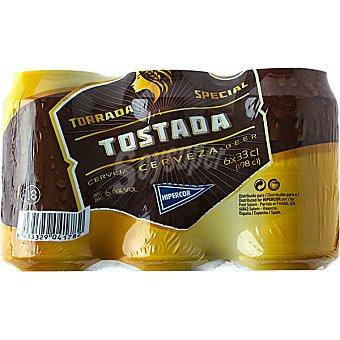 Hipercor Cerveza rubia Tostada pack 6 latas 33 cl Pack 6 latas 33 cl