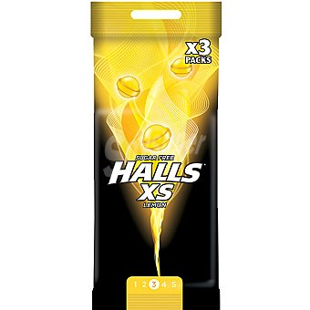 Halls caramelos duros sin azúcar sabor limon XS pack 3 envase 17 g
