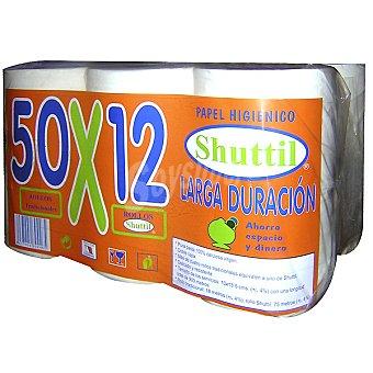 Shuttil papel higiénico larga duración paquete 12 unidades