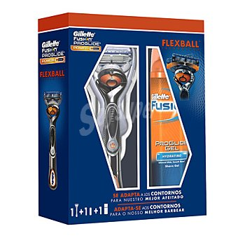 Gillette Pack afeitado fusion proglide flexball power (maquinilla + gel) 1 ud