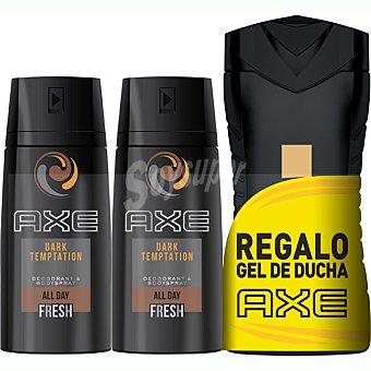 Axe Pack Dark Temptation 2 desodorantes spray 150 ml + gel Gold 250 ml spray 150 ml