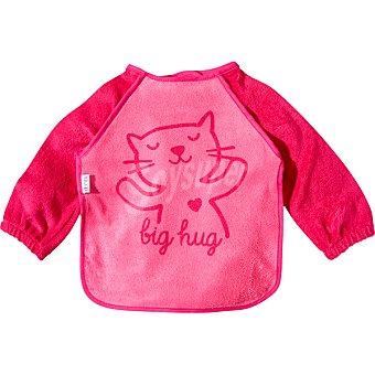 Dombi Babero con mangas y dibujo de gato en color rosa