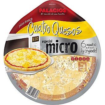 Palacios Pizza 4 quesos mozzarella gouda cheddar y parmesano para microondas Envase 360 g