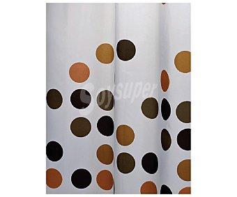 Auchan Cortina de baño 180x180 centímetros, estampado topos color marrón chocolate 1 Unidad