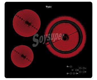 Whirlpool Placa vitrocerámica AKT 807 BF, 3 zonas de cocción, potencia: 5600W, zona grande de 28cm, Touch Control. A: 58cm 3 zonas de cocción, potencia: 5600W, zona grande de 28cm, Touch Control. A: 58cm