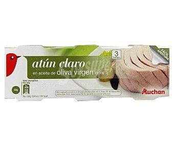 Auchan Atún claro en aceite de oliva virgen extra Lata de 52 gramos pack de 3