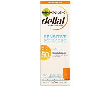 Delial Garnier Crema solar sensitive con factor de protección 50 especial para pieles claras, sensibles e intoerantes al sol 75 mililitros