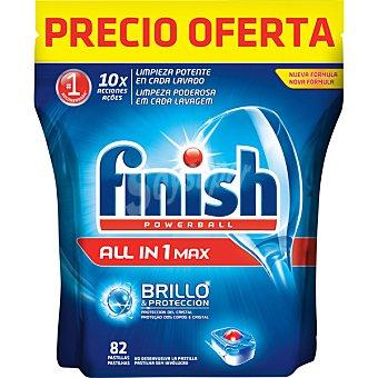 Finish Detergente lavavajillas Power Ball todo en 1 Max 82 unidades brillo y protección del cristal 82 unidades
